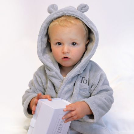 Personalised Grey Dressing Gown With Ears